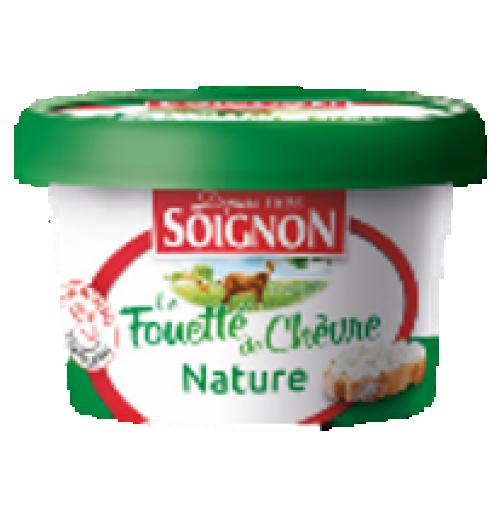 Le fromage de chèvre fouetté nature - Une texture aérée et onctueuse qui révèle un goût équilibré de lait de chèvre.  Frais et savoureux.