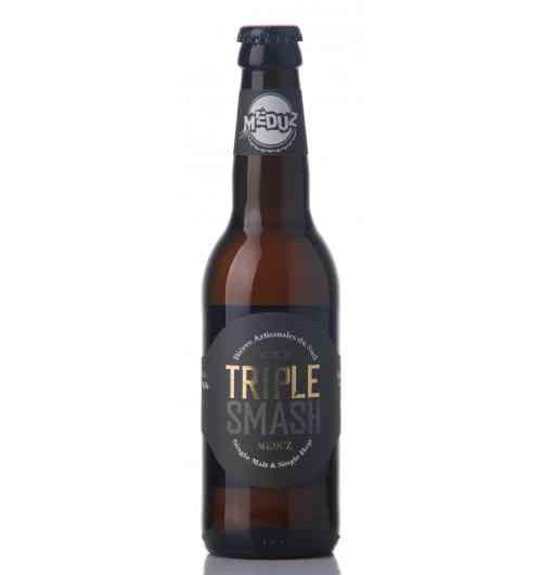 Meduz Triple SMASH - La Triple SMASH est une bière blonde puissante et aromatique de type Belge. Son caractère et sa force (8,5% Alc. Vol.) proviennent d'un seul malt, le Pale Ale et d'un seul houblon, le Cascade, d'où son nom, SMASH pour Single Malt And Single Hop.