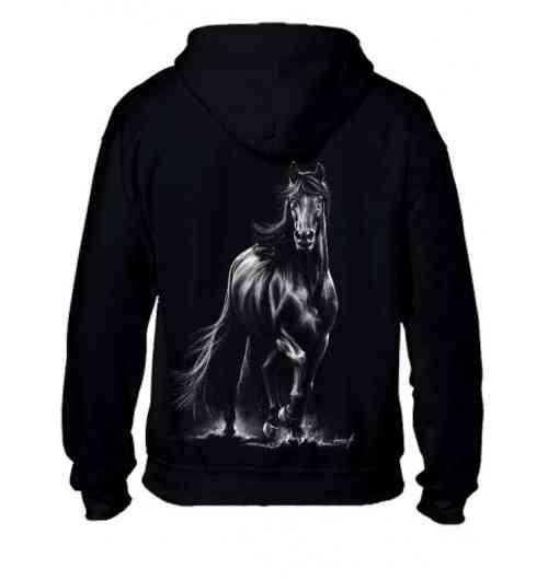 Sweat-shirt capuche avec zip - Mixte -Cheval Frison au trot - Sweat-shirt mixte, coupe ample décontracté. Très agréable à porter. Avec un nouveau motif. Le Frison. Un magnifique cheval.