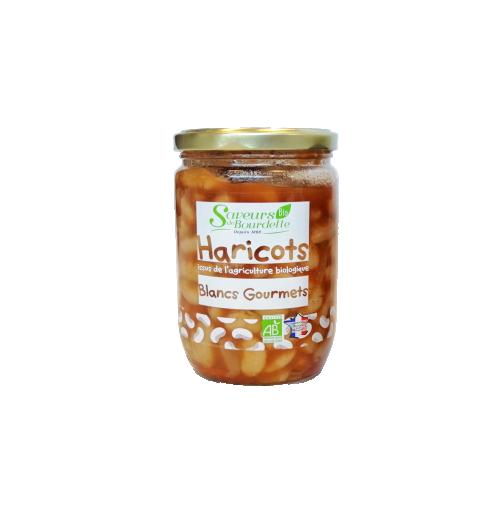 HARICOTS GOURMETS BIO - Conseil de Dégustation : Réchauffez le bocal fermé pendant 10 minutes au bain-marie ou faites réchauffer le contenu dans une casserole à feu doux. Bon appétit !   TOUS NOS PRODUITS SONT SANS CONSERVATEUR NI COLORANT  Ingrédients: Haricots blancs Gourmets français*50%, jus cuisiné (eau, tomates concassées (tomates*, jus de tomates*, correcteur acidité: acide citrique), fond de volaille (arôme naturel, maltodextrines*, fécule de pomme de terre*, plante aromatique*), carottes*, oignons*, sel, poivre*) carottes*.  * Produits issus de l'agriculture biologique