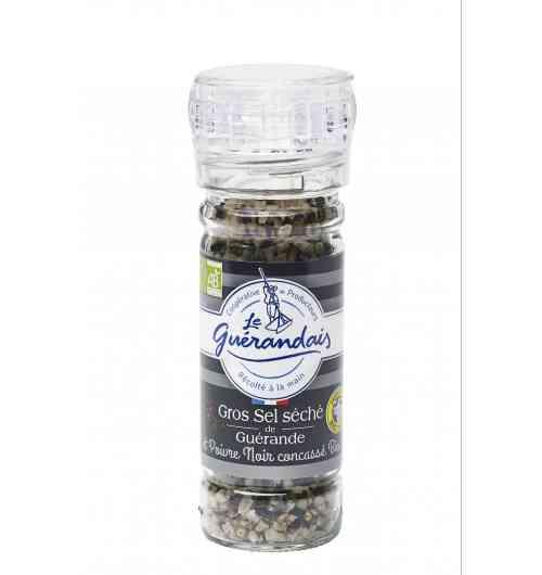 Moulin gros sel séché et poivre noir bio - Ce mélange de gros sel séché et de poivre concassé bio relèvera délicatement tous vos plats.