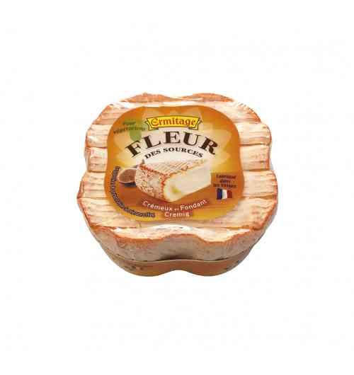 Fleur des Sources - Un fromage à la croûte mixte en hommage à la végétation et à son environnement de fabrication en Pays d'eau.  De la gourmandise pour tous : - Sous sa belle croûte orangée se cache une pâte crémeuse et fondante aux arômes doux et subtils qui lui donne une fraîcheur et une vraie personnalité.  - Ses saveurs lactées et douces sont l'expression du goût de nos pâtures. - Un format 200G en 4 pétales pour faciliter le partage (50g)