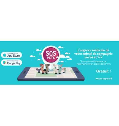 Application Smartphone - <p>Que fait SOS PETS ?</p> <ul> <li>L'application vous permet de trouver ou d'appeler des<strong>vétérinaires</strong>(Cliniques ou Vétérinaires à domicile) ou des<strong>«taxis animaliers» OUVERTS</strong><strong>autour de vous partout en France</strong><strong>7/7 & 24/24</strong>.</li> <li>Vous avez un véhicule, vous êtes géolocalisés et on vous<strong>accompagne</strong>chez le vétérinaire avec votre application de navigation préférée (Waze, Google MApas, Plans,…)</li> <li>On peut vous mettre<strong>directement en relation avec le centre anti-poison animal de l'Ouest</strong>.</li> <li>Il n'y a<strong>aucun numéro surtaxé et c'est gratuit</strong>pour le propriétaire</li> <li>Vous avez la possibilité de remplir<strong>la fiche de votre animal</strong>, de manière à avoir toujours toutes les informations à portée de main.</li> </ul>