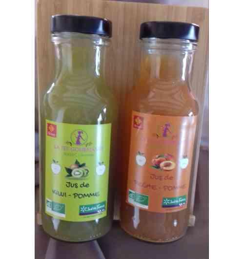 JUS DE FRUITS BIO - JUS DE FRUITS BIO, 750 ml, 100% NATUREL, SANS SUCRE AJOUTE NI CONSERVATEUR 8 VARIETES DIFFERENTES  * ABRICOT/POMME * PECHE DE VIGNE / POMME * COING/ POMME * KIWI/POMME * FRAISE/POMME * FRAMBOISE/POMME * GINGEMBRE/POMME * HIBISCUS/POMME