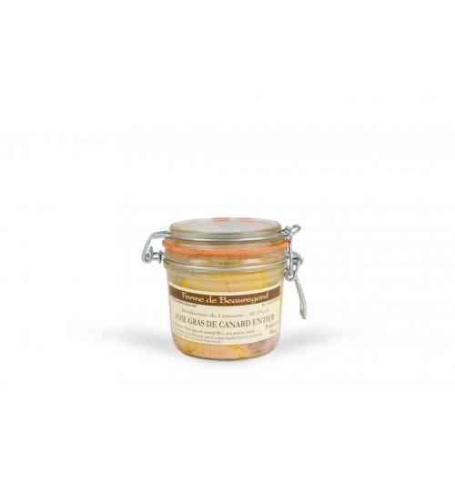 Foie gras de canard entier - Foie gras de canard entier, sel, poivre, cognac. Conserves : 70g, 130g, 200g, 300, 400g, 550g. Bocal : 180g, 300g.