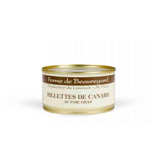 Rillette de canard au foie gras - Viande et gras de canard 60%, foie gras de canard 38%, sel, poivre. Produit médaillé au Salon de l'agriculture en 2019.