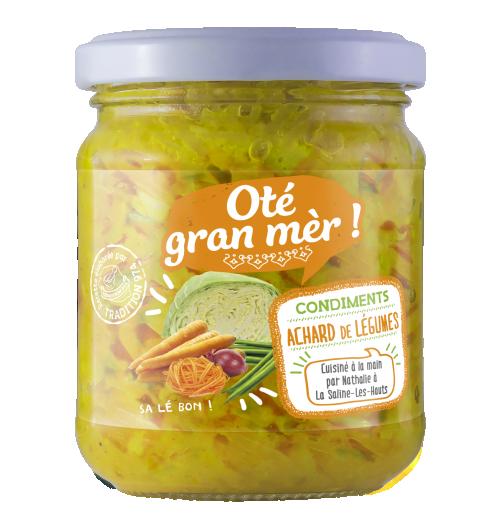 Notre gamme d'achards - L'achard est un condiment Réunionnais, préparé à la Marmitte. Il est assaisonné d'épices tels que le gingembre, le poivre, et du  piment. il peu être dégusté en apéritif sur des toasts, en accompagnement sur le riz, les pâtes, pomme de terre...