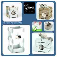 Mobilier pour chats Vesper By Catit - Catit propose des meubles pour chats contemporains, design et particulièrement esthétiques. Ils sont dotés de cachettes, de coussins moelleux, de plateforme d'observation et même de hamac pour certains. Les meubles Vesper By catit sont les seuls que l'on n'ose pas cacher tellement ils sont beaux!