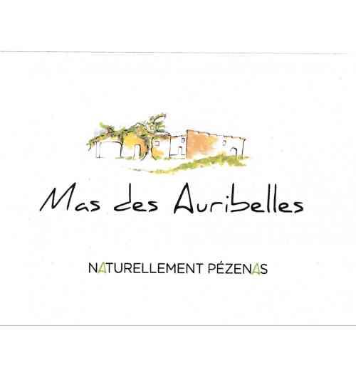 MAS DES AURIBELLES cuvée Naturellement Pézenas - AOP LANGUEDOC PEZENAS 50% Grenache 50% Syrah Vin sans intrant sans sulfite ajouté vinifié et élevé en fût de chêne