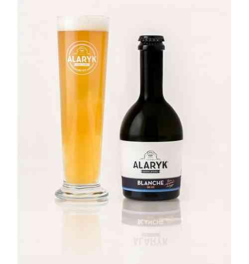 Alaryk Blanche Bio - <p>Cette blanche fruitée est naturellement trouble, elle est brassée dans l'esprit des blanches bavaroises, en fermentation haute, et non pasteurisée. Vous apprécierez ses notes d'agrumes, d'épices et de banane et sa mousse légère.</p>