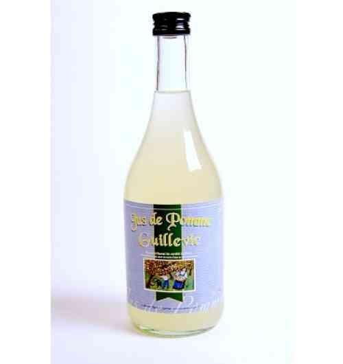 jus de pomme guillevic - jus de pomme élaboré uniquement à base de la pomme Guillevic uniquement cultivée dans le littoral sud du Morbihan. Pur jus de pommes fraîches triées à la main puis pasteurisé.