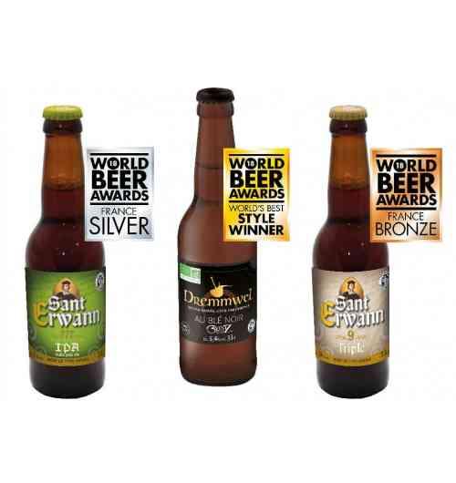 Bière Sant Erwann et Dremmwel - La brasserie médaillée aux World Beer Awards ! À l'occasion de la remise des prix des World Beer Awards 2018, qui s'est tenue le 15 août dernier à Londres, parmi des centaines de brasseries et des milliers de marques sélectionnées à travers le monde, Brasserie de Bretagne  a reçu 3 médailles !  La Sant Erwann Triple a reçu la médaille de bronze dans la catégorie « Belgian style Tripel »  La Sant Erwann IPA a reçu la médaille d'argent dans la catégorie « English Style »  La Dremmwel Gwiniz Du est élue meilleure bière sans gluten de France et meilleure bière sans gluten du monde.  Retrouvez aussi la Sant Erwann aux fruits rouges ! Depuis toujours La Brasserie de Bretagne se distingue par sa volonté de créer régulièrement de nouvelles recettes. Aujourd'hui c'est sous la marque Sant Erwann que nos brasseurs sont fiers de vous proposer la toute dernière venue : une bière aux fruits rouges. Pour cette nouvelle bière, il a fallu trouvé un subtile équilibre entre les saveurs habituelles mariant les 7 céréales qui l'a compose avec des fruits rouges qui viennent arrondir cette bière de caractère. Un mélange des genres très agréable et surprenant qui vient compléter la gamme de Sant Erwann, pour varier les plaisirs ...