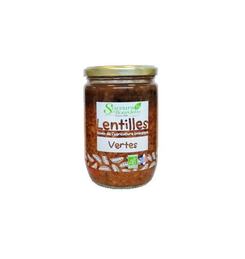 LENTILLES VERTES BIO - Conseil de Dégustation : Réchauffez le bocal fermé pendant 10 minutes au bain-marie ou faites réchauffer le contenu dans une casserole à feu doux. Bon appétit !     TOUS NOS PRODUITS SONT SANS CONSERVATEUR NI COLORANT  Ingrédients: Lentilles vertes française*45%, jus cuisiné (eau, tomates concassées (tomates*, jus de tomates*, correcteur acidité: acide citrique), fond de volaille (arôme naturel, maltodextrines*, fécule de pomme de terre*, plante aromatique*), carottes*, oignons*, sel, poivre*) carottes*.  * Produits issus de l'agriculture biologique
