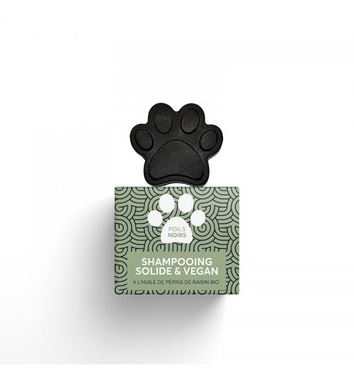 Shampooing solide poils noirs PEPET'S - Ce shampooing solide, naturel et vegan, est adapté aux poils noirs ou bruns. Inspiré de la nature, ce produit associe les bienfaits nourrissants de l'huile de pépins de raisin et de l'huile de coco bio, aux propriétés purifiantes et détoxifiantes du charbon actif de bambou.   * Colorant * Nourrissant * Purifiant