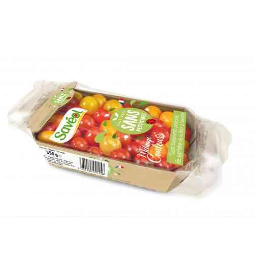 Mélange couleurs 350g Sans pesticides - Le Mélange couleurs 350g réunit plusieurs couleurs de tomates cerises et Coeur-de-Pigeon. Ce produit est garanti sans traitements pesticides de synthèse de la fleur à l'assiette.