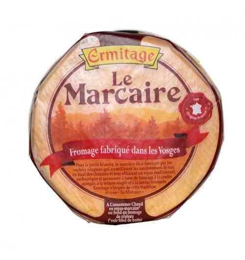 Marcaire 200g - Ce fromage de terroir, né du savoir-faire et de la passion des Maîtres Fromagers des Vosges, recèle toutes les saveurs d'un produit régional :  -un fromage traditionnel à la croûte orangée, à la texture souple et à la saveur fondante, -un fromage de terroir, fabriqué avec le lait de nos cantons (100% Français). Doux et moelleux, sa saveur caractéristique lui donne toute sa personnalité, -spécialement affiné, il se déguste aussi bien chaud en plat principal, que froid sur un plateau.