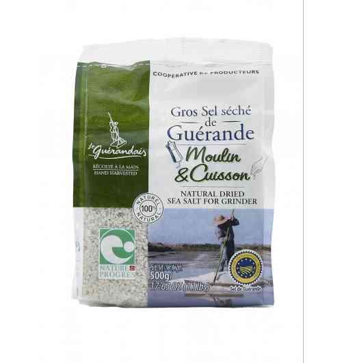 Sachet gros sel séché 500G - Fruit de l'océan, du soleil et du vent, notre gros sel de Guérande est récolté à la main par les paludiers selon une méthode traditionnelle millénaire. Le gros sel Le Guérandais ne contient aucun additif, il est non raffiné et non lavé.