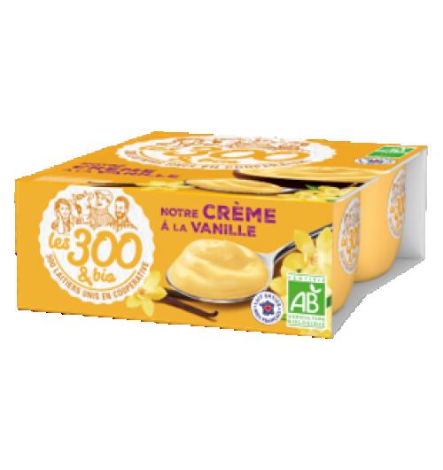 Crème dessert vanille - Crème dessert fabriquée à partir de lait entier 100% français et d'une touche de crème. Format 4x95g. Une crème dessert vanille au bon lait entier et 100% gourmande avec son bon gout de crème anglaise.