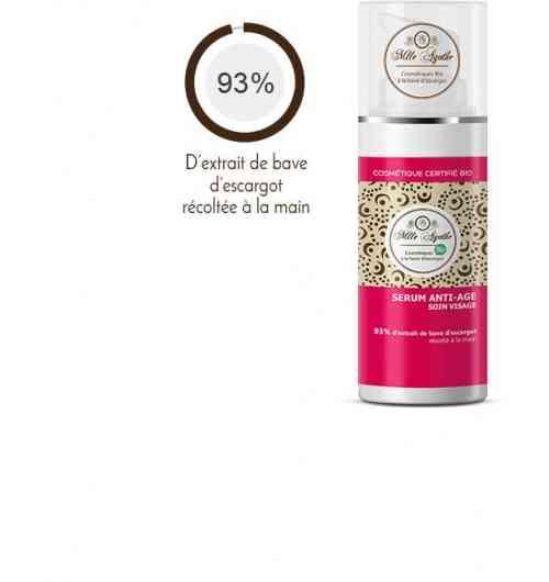 SÉRUM VISAGE ANTI-ÂGE 93% - Offrez à votre peau un extrait pur d'hydratation et de régénération cellulaire. Au fil des jours, la peau est apaisée, les marques de fatigue estompées, les rides et ridules atténuées. Notre sérum est hautement concentré en bave d'escargot qui nourrit la peau en profondeur.