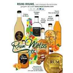 """RHUM ARRANGE METISS - """"Rhum Métiss"""" s'inscrit dans la tradition des pur arrangés Réunionnais.   Tous nos arrangés sont élaborés à base de rhum traditionnel de La Réunion.   Chaque bouteille est issue d'une préparation minutieuse et artisanale.   Le choix et les dosages des ingrédients sont à l'origine du goût unique des arrangés """"Rhum Métiss"""".   L'exigence quant à la conception de nos rhums arrangés débute à la sélection et l'achat des produits.  Nous choisissons nos fruits en fonction de leurs provenances et des saisons afin de garantir à nos arrangés une qualité inégalable.   Les épices, arômes et écorces qui agrémentent nos arrangés sont directement importés de la Réunion, conférant aux Rhums Metiss leur authenticité."""