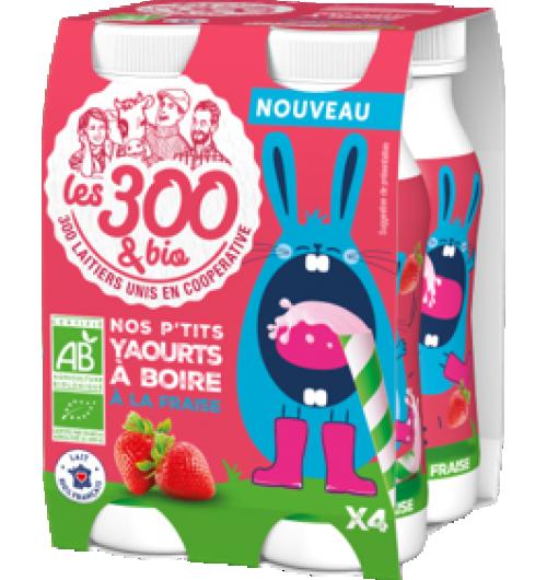 P'tits yaourts à boire - Yaourt à boire aux fruits fabriqué à partir de lait entier 100% français et d'une touche de crème. Format 4x125ml.