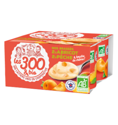 Yaourt pêche abricot - Yaourt aux fruits fabriqué à partir de lait entier 100% français et d'une touche de crème. Format 4x125g. Un yaourt à la fois crémeux et aux bons morceaux de fruits. Deux parfums, pêche ou abricot, délicieux pour un moment ensoleillé !