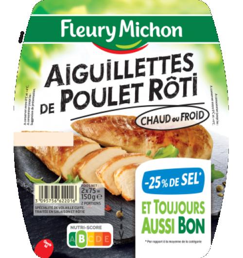 Aiguillettes poulet rôties -25% de sel - Un bouillon de volaille : c'est ce qui nous permet de vous proposer ces aiguillettes au taux de sel réduit et toujours aussi bon.  *par rapport à la moyenne de la catégorie