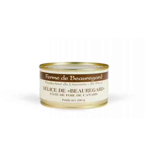 Délice de Beauregard - Foie gras de canard 40%, viande de canard 30%, farce de proc, LAIT, Cognac, sel, poivre.