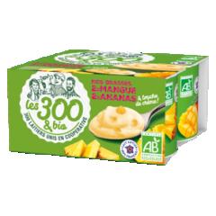 Yaourt mangue ananas - Yaourt aux fruits fabriqué à partir de lait entier 100% français et d'une touche de crème. Format 4x125g. A la fois crémeux et délicieusement fruités, ces yaourts aux bons morceaux de mangue ou d'ananas sont parfaits pour une pause exotique.