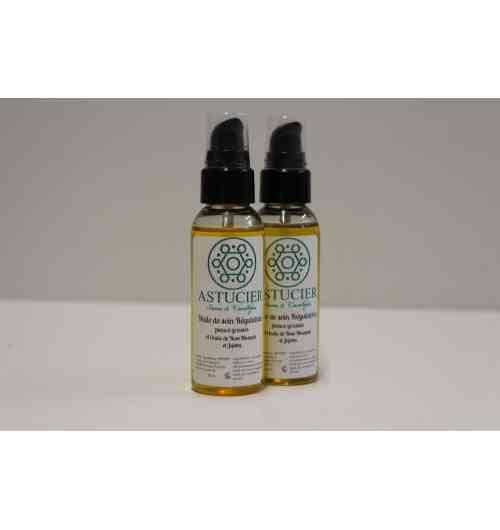 Huile de soin Régulatrice - L'huile de soin régulateur aide à lutter contre l'inconfort des peaux grasses en lui apportant souplesse et hydratation.  L'association de l'huile de jojoba et de rose musquée, non grasse, pénètre merveilleusement, pour laisser un teint frais lisse et soyeux.  100% naturelle, de formulation simple : huile de rose musqué* huile de jojoba*, huile de sésame*, tocophérol (antioxydant naturel)  Utilisée chaque jour, elle laissera votre peau : hydratée, souple, réparée, soulagée, sans tiraillement.  L'huile de rose musqué riche en acide gras linoléique est reconnue pour ses vertus régénérantes cutanées  et anti-âge.  Elle aide à nourrir les peaux abîmes et favorise la cicatrisation.  ingrédients : Sesamum Indicum Seed Oil, Simmondsia Chinensis Seed Oil, Rosa Canina Fruit Oil, Helianthus Annuus Seed Oil, Tocopherol